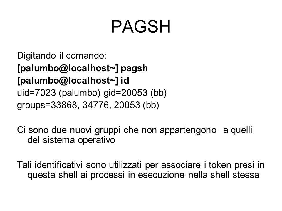 PAGSH Digitando il comando: [palumbo@localhost~] pagsh
